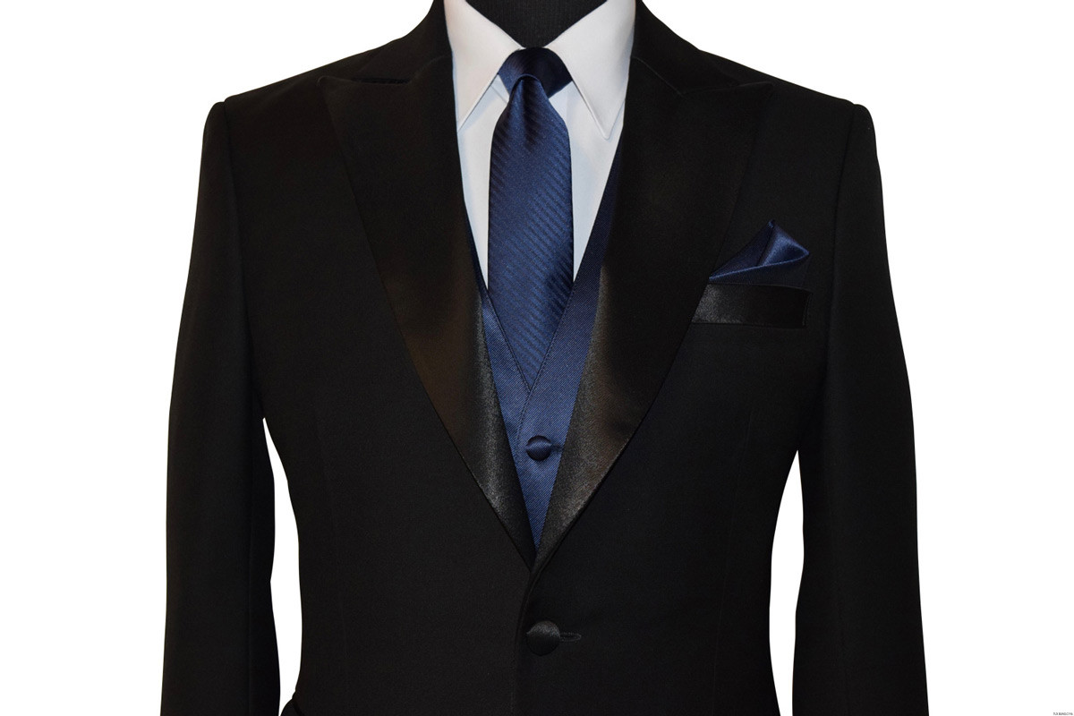 navy blue wedding vest and long tie at tuxbling.com