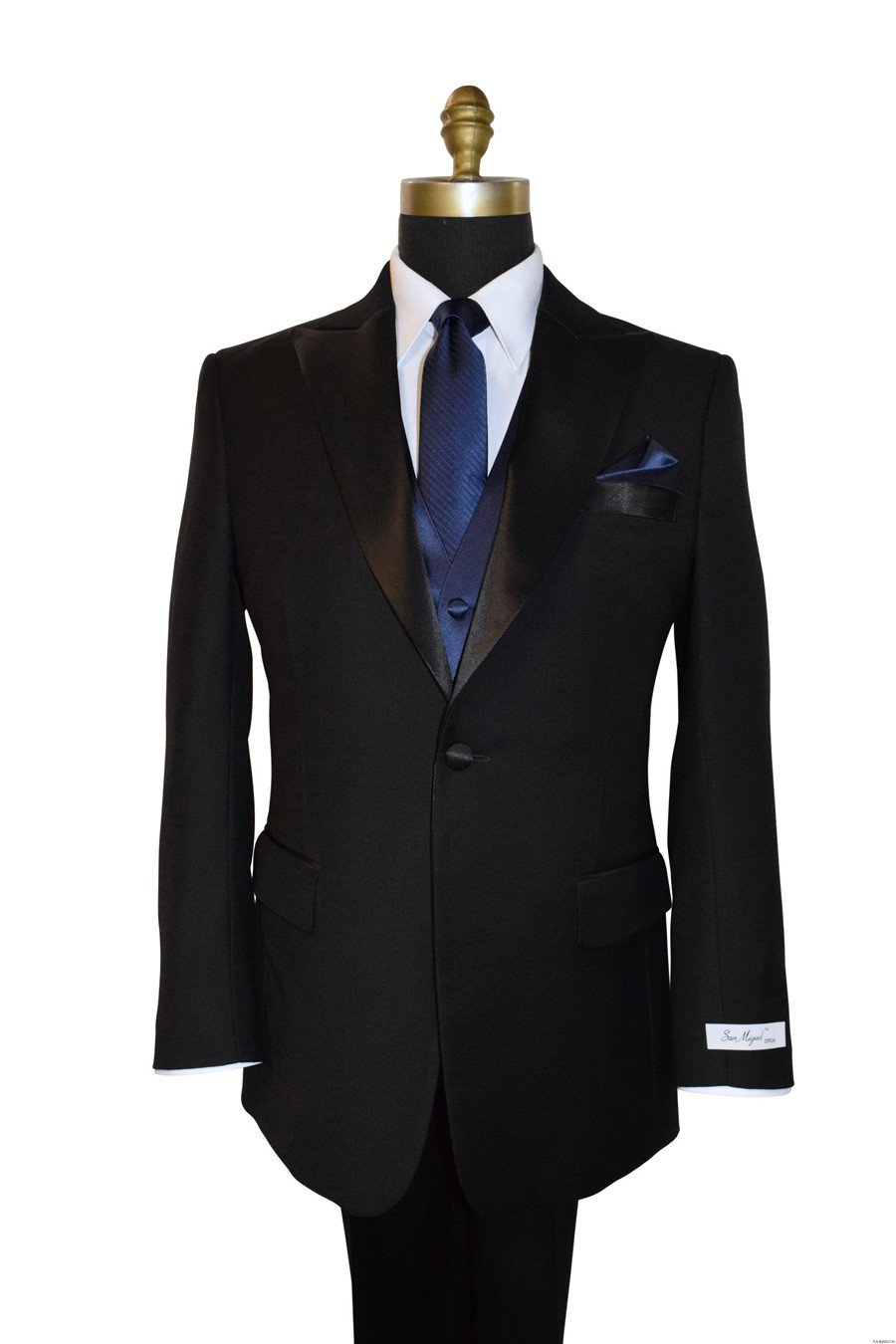 black San Miguel peak lapel tuxedo with navy blue long dress tie by San Miguel Formals