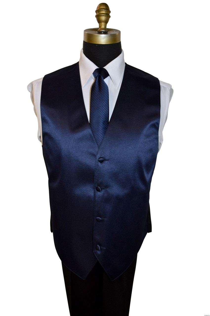 men's navy blue vest and long tie