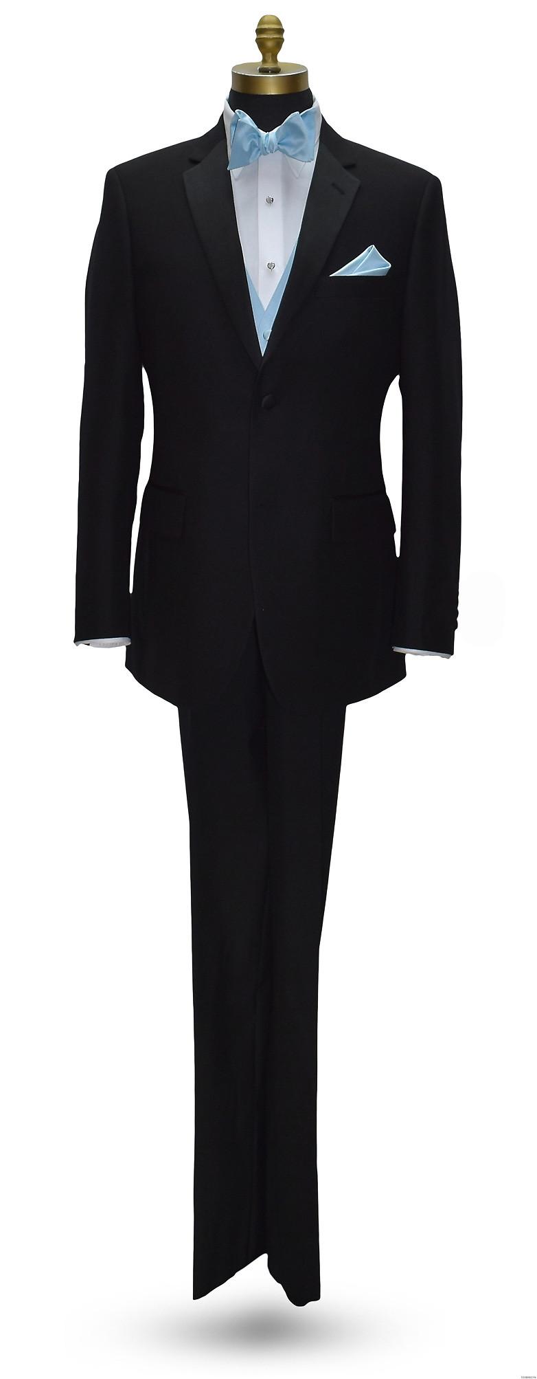black San Miguel notch lapel tuxedo with capri-blue self-tie bowtie and capri-blue vest and pocket handkerchief