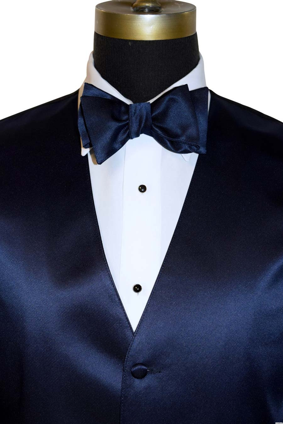 navy blue self-bowtie with navy blue vest on tuxbling.com