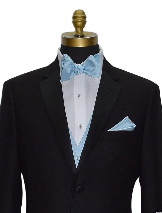 capri blue self-tie bowtie by San Miguel Formals and capri blue vest matches capri blue bridal