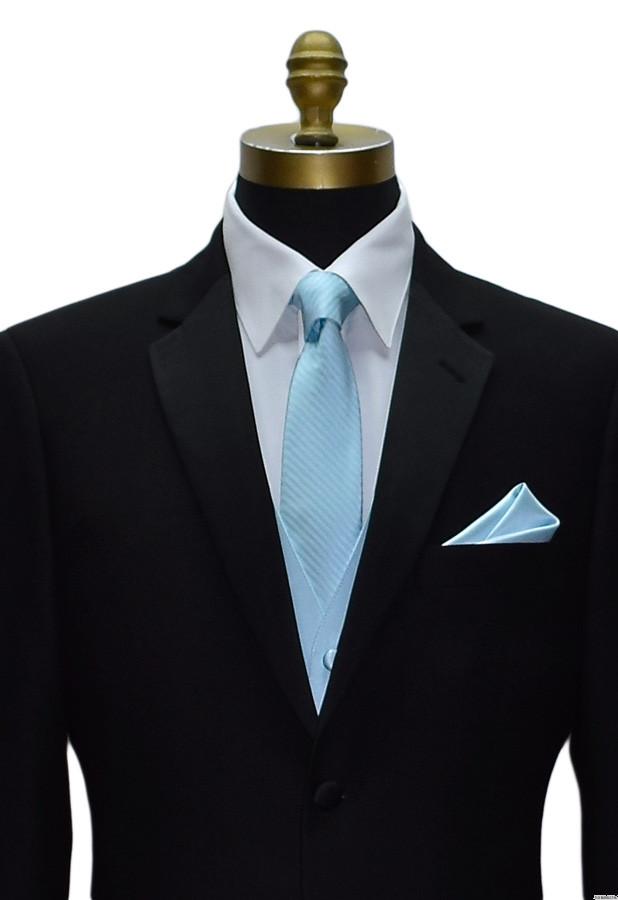capri blue vest and long tie by San Miguel Formals