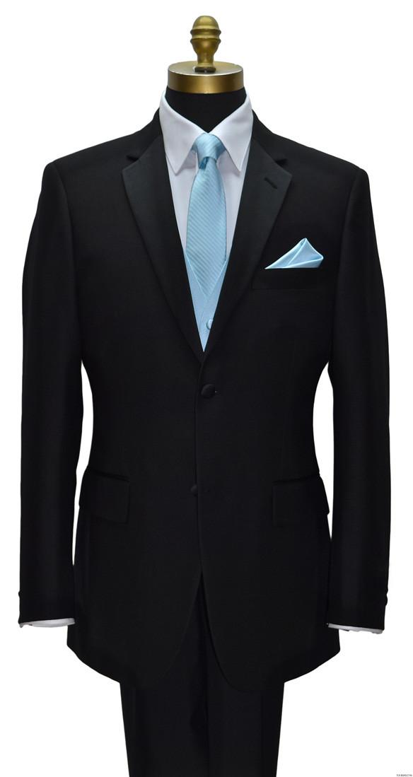 men's and boy's capri-blue skinny dress tie and capri blue vest by San Miguel Formals