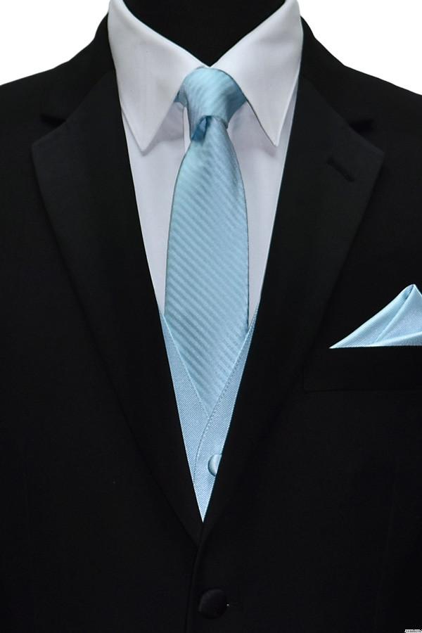 capri-blue dress tie, vest and pocket handkerchief by San Miguel Formals