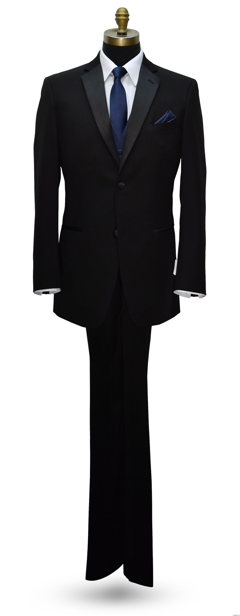Black notch lapel tuxedo with navy blue vest and long tie