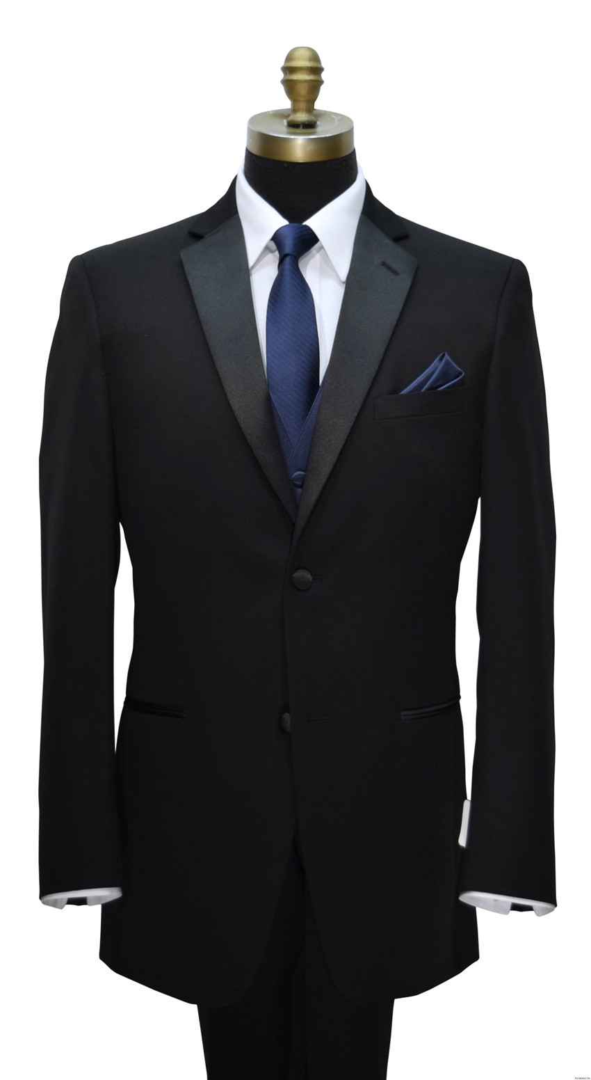 navy blue skinny dress tie with navy blue vest and black tuxedo