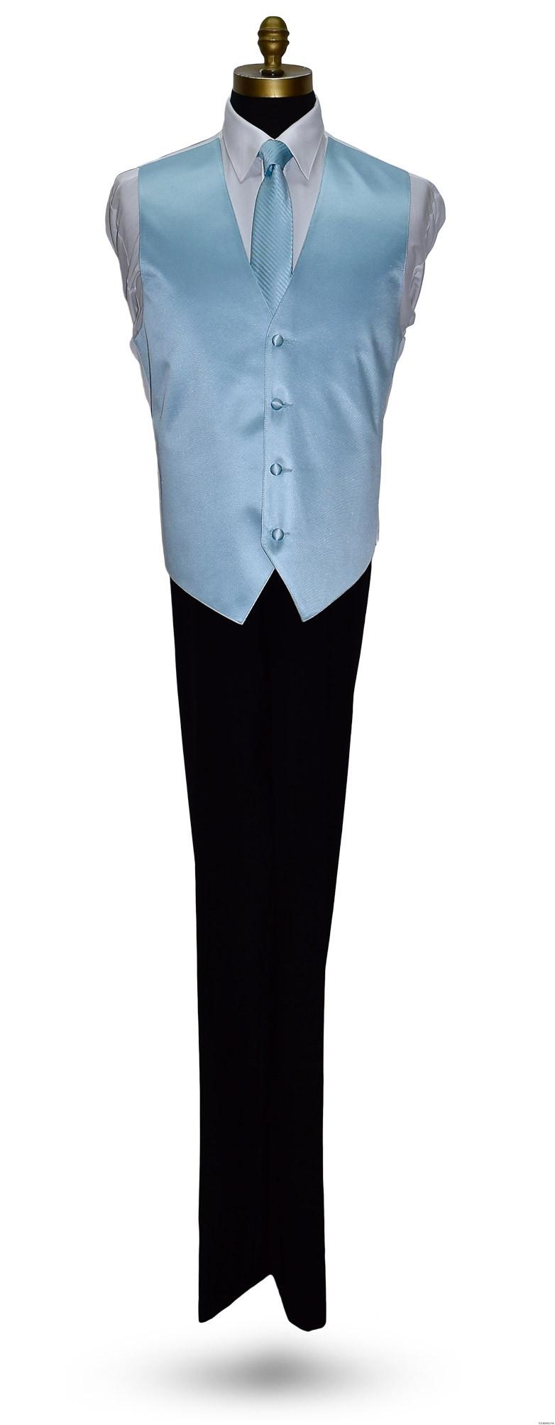 men's capri blue striped dress tie with capri-blue vest by San Miguel Formals