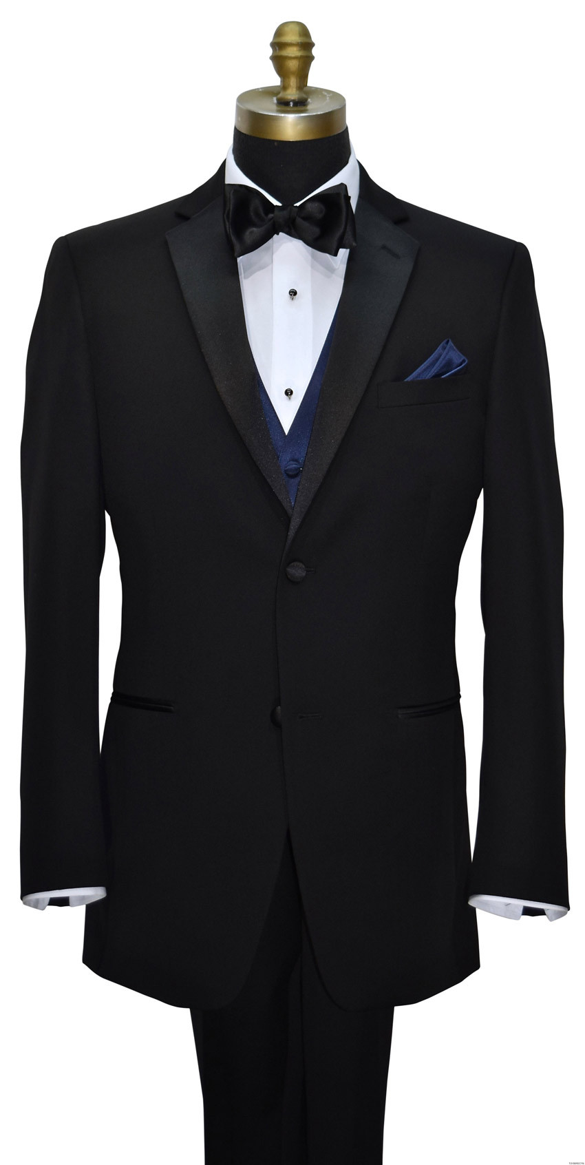 black tuxedo with navy blue vest and bowtie