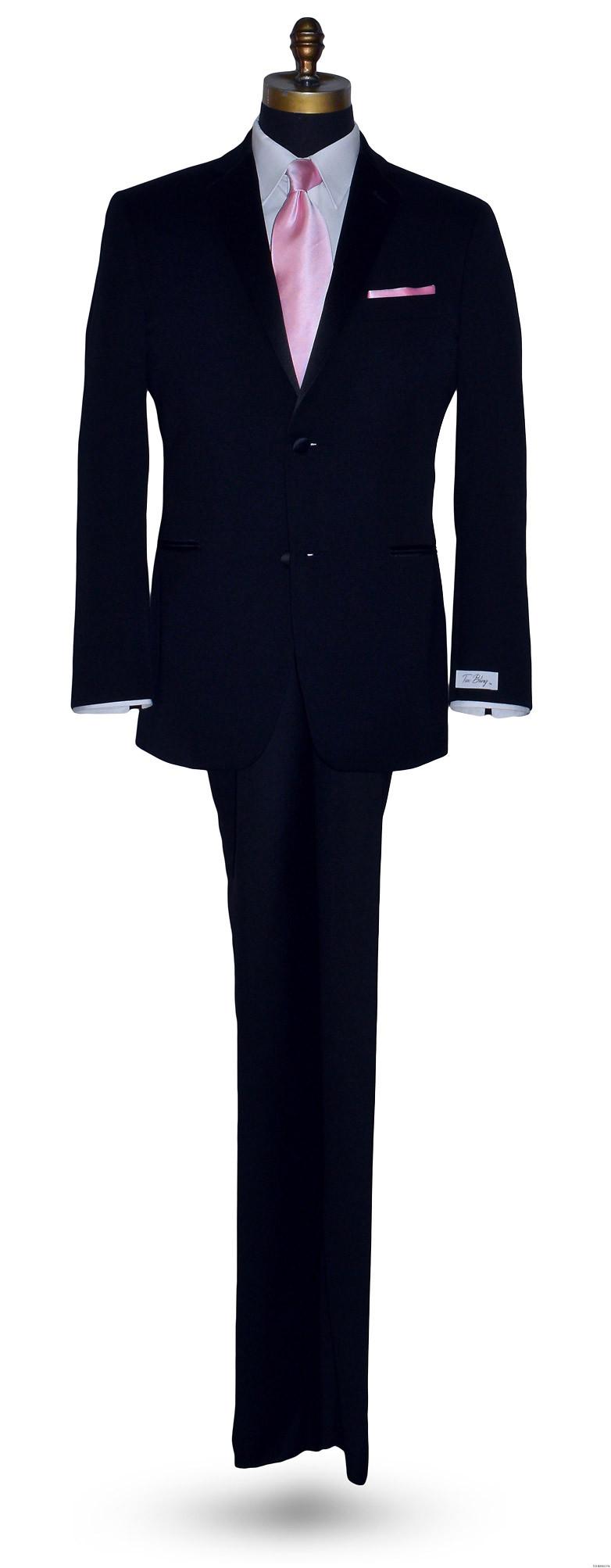 pink long men's tie with tuxbling.com black tuxedo
