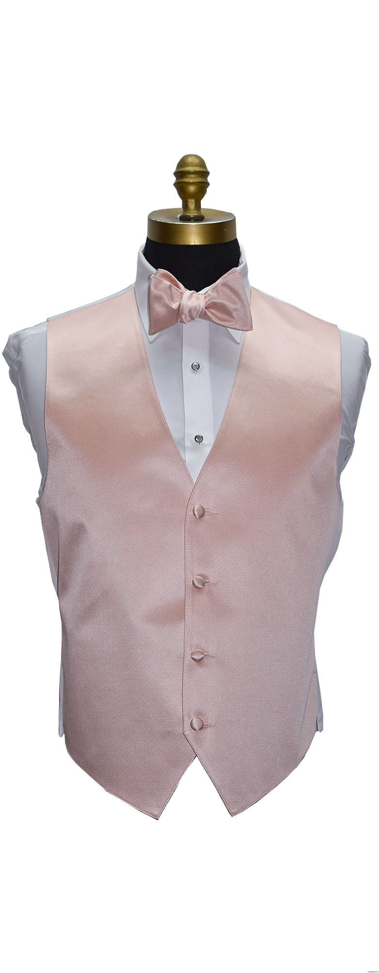 men's and boy's blush tuxedo vest with blush tie-yourself bowtie by San Miguel Formals