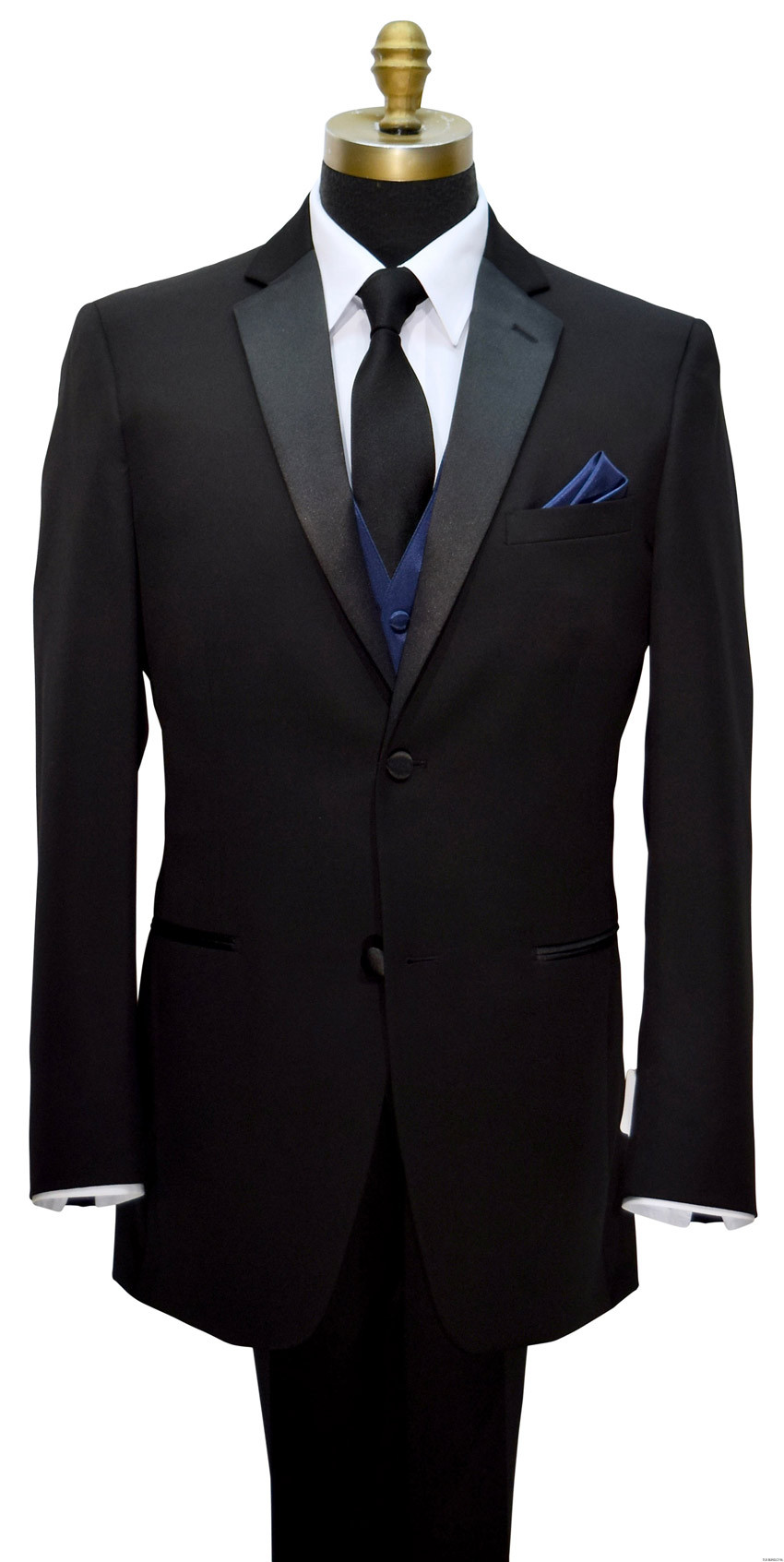 navy blue vest with long black dress tie and black notch tuxedo