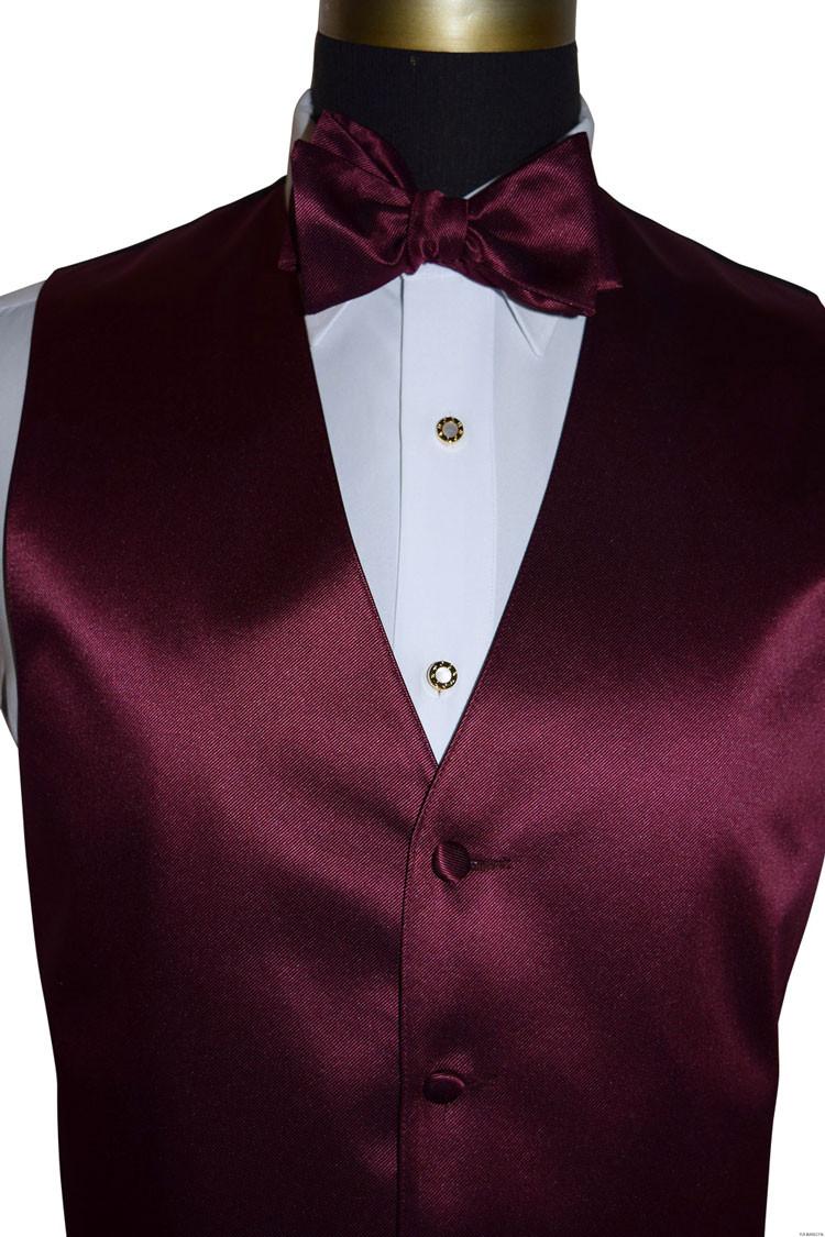 wine tuxedo vest and wine self-tie bowtie