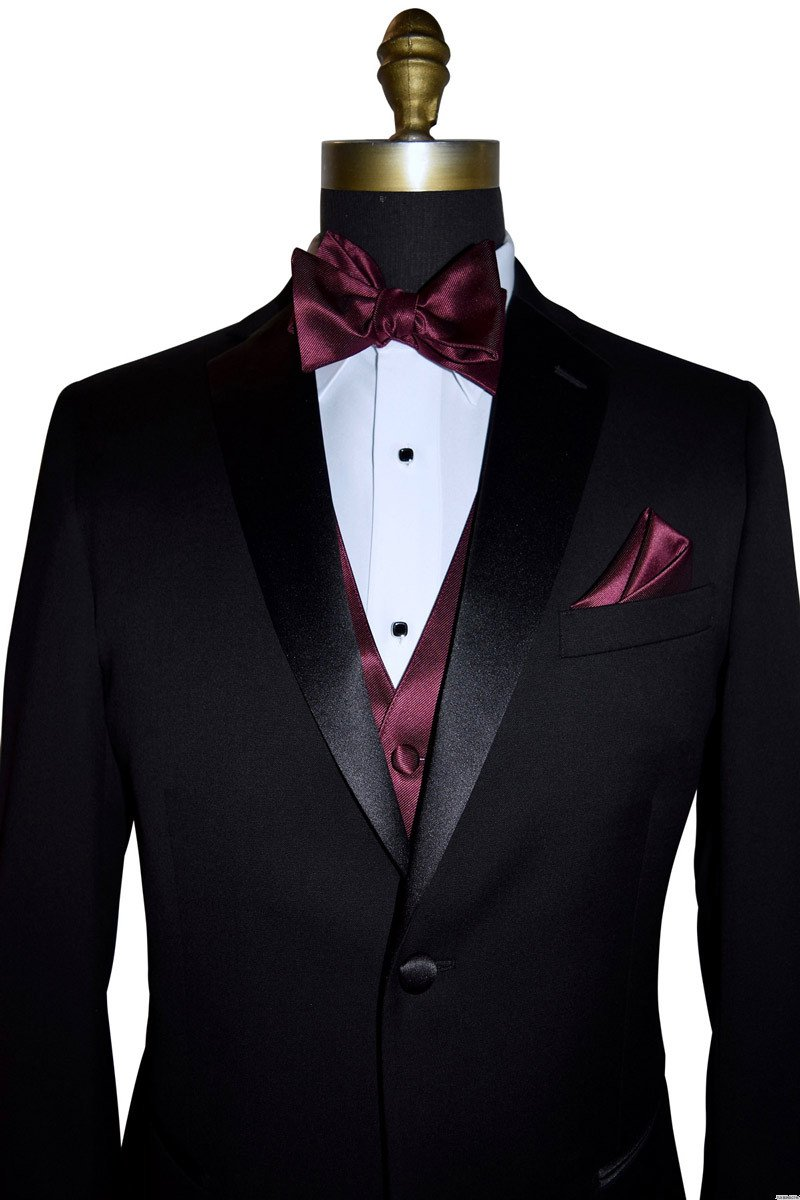 black tuxedo with wine bowtie and vest by San Miguel Formals