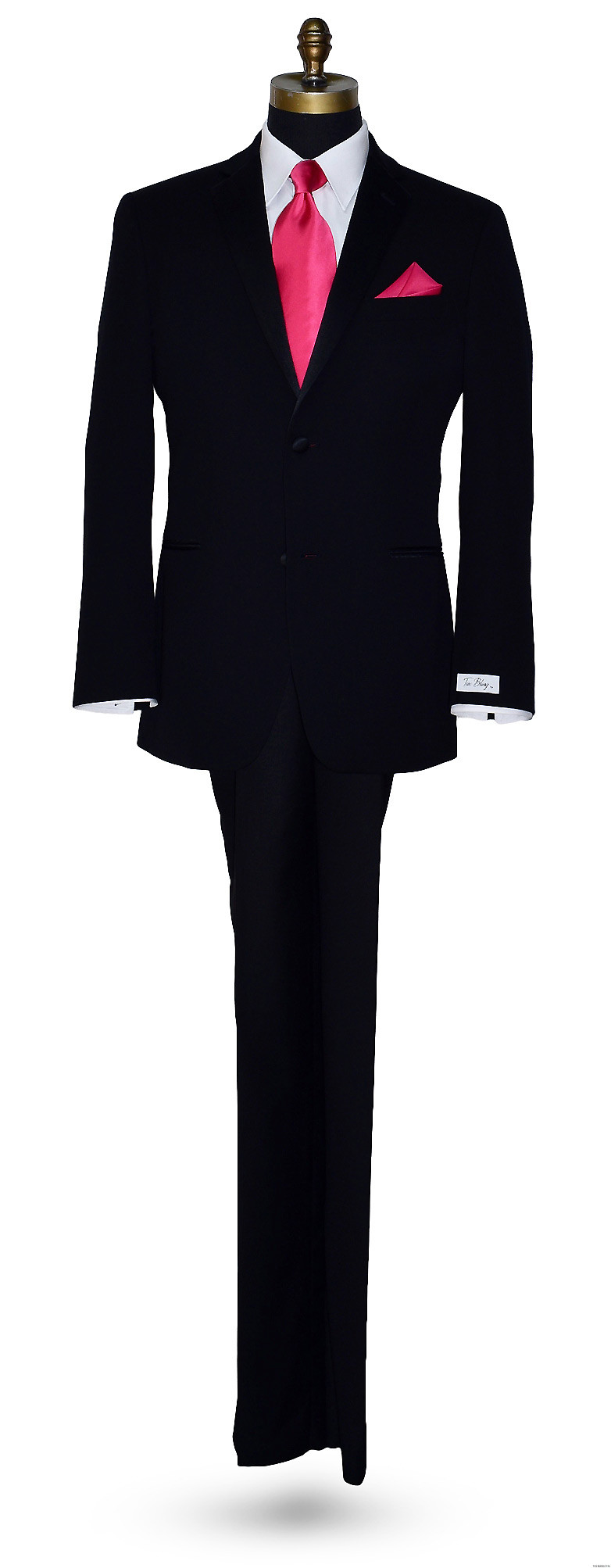 black wedding tuxedo by Tuxbling.com with hot pink silk long dress tie