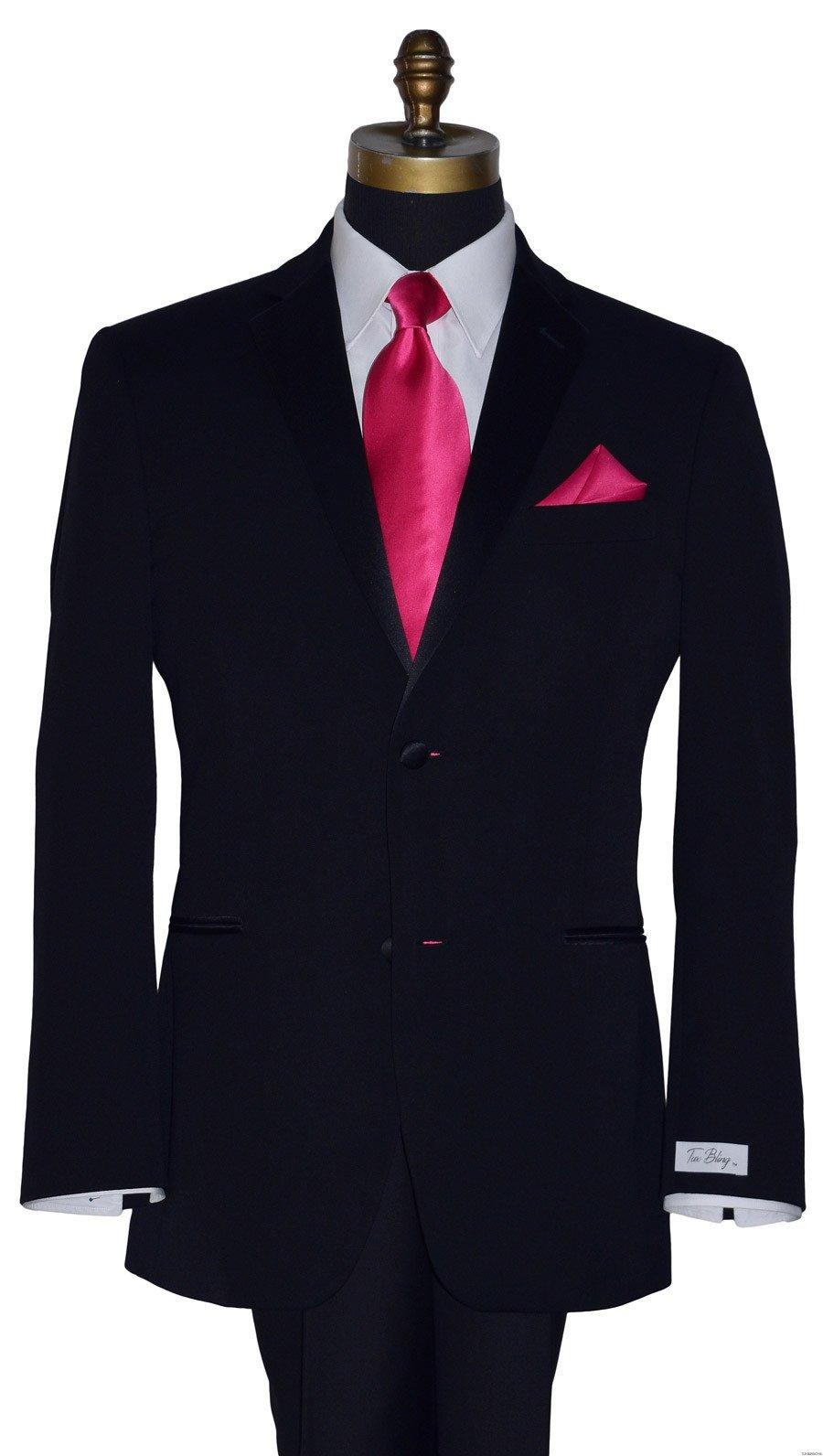 Tuxbling.com black tuxedo with hot pink silk long tie for men