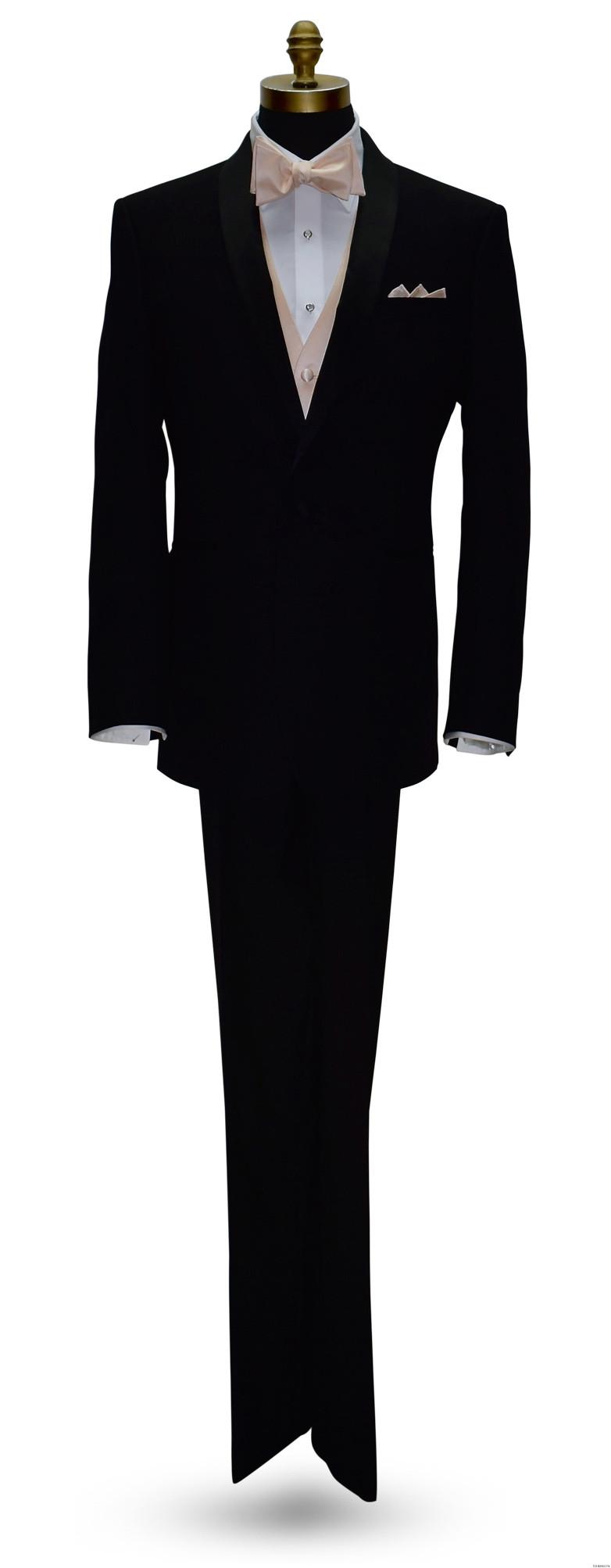 black tuxedo with nude vest and nude self-tie bowtie
