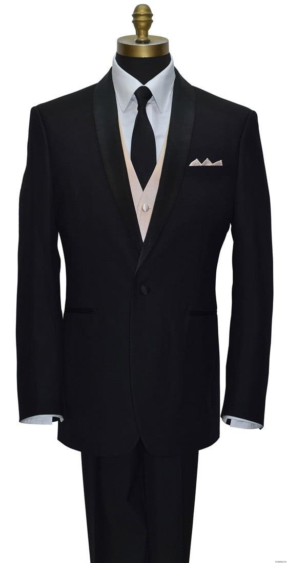 men's nude vest with black skinny men's tie