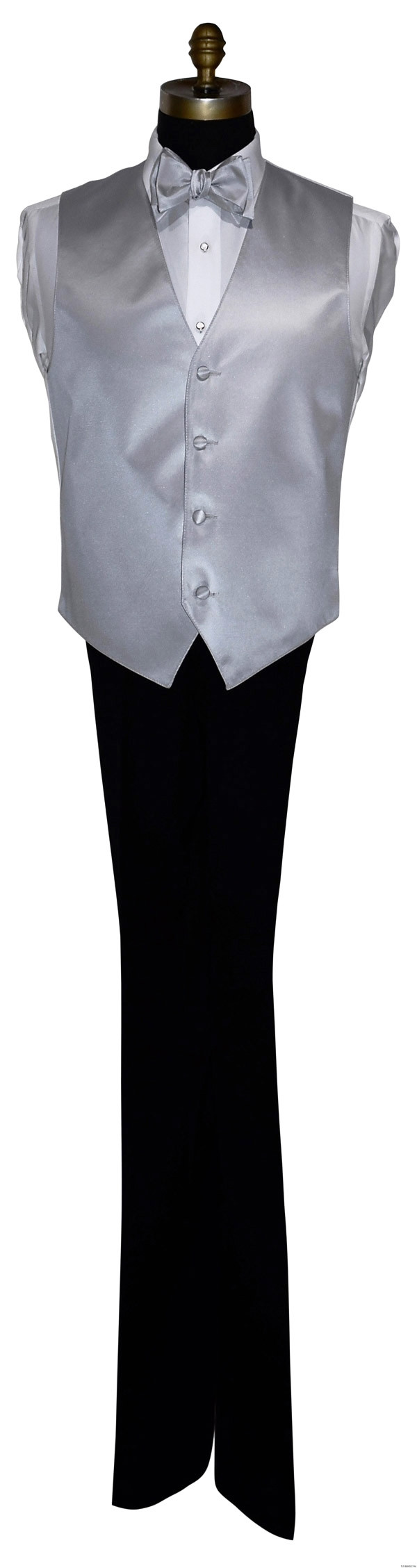 silver vest and bowtie on tuxbling.com for tuxedos