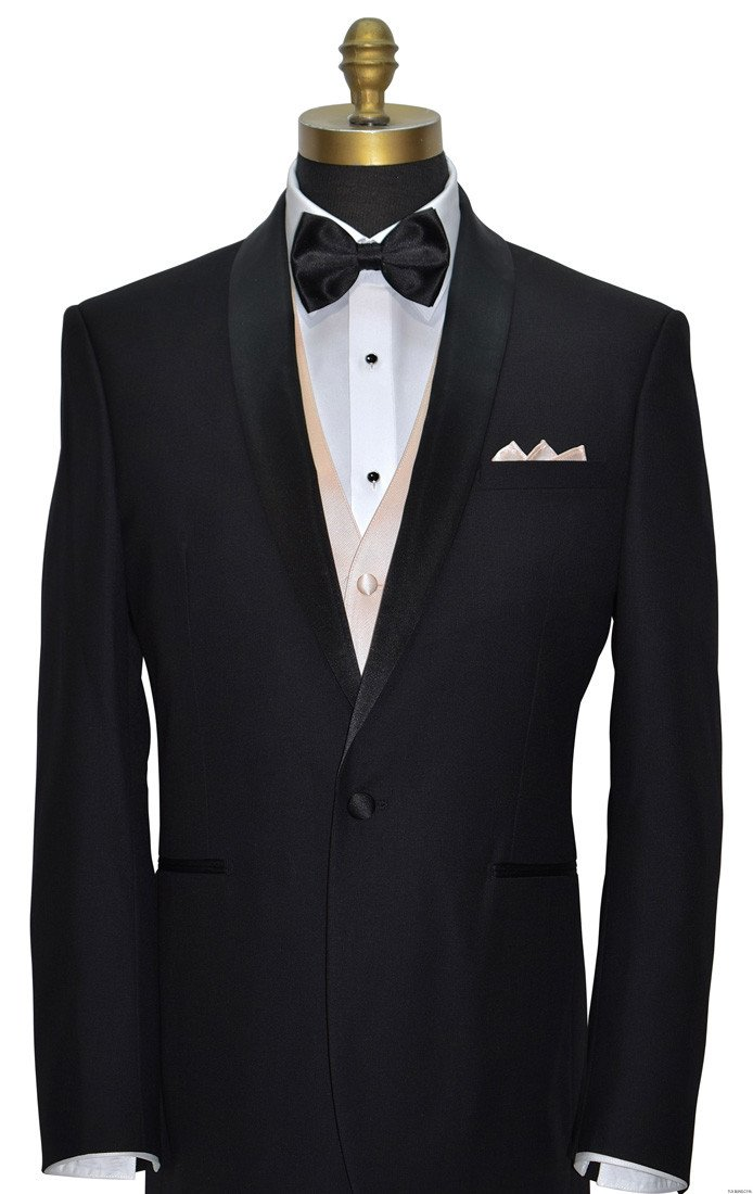 black shawl collar tuxedo with black bowtie and nude vest by San Miguel Formals