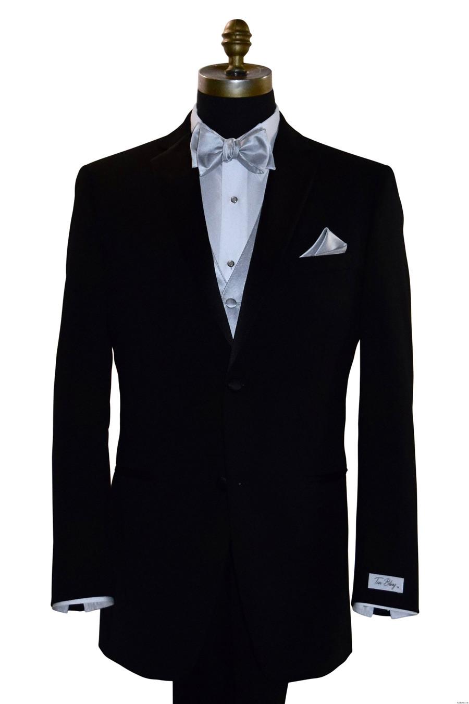 silver tie-yourself bowtie, vest and silver pocket handkerchief by San Miguel Formals
