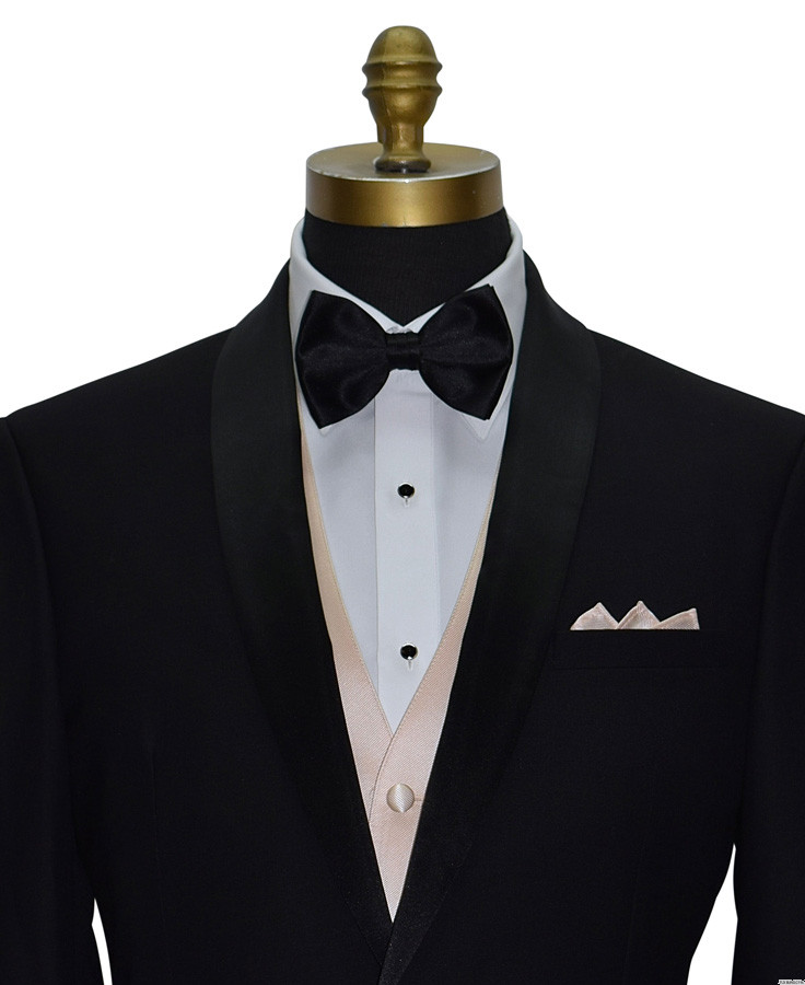 nude vest with black bowtie for weddings at tuxbling.com