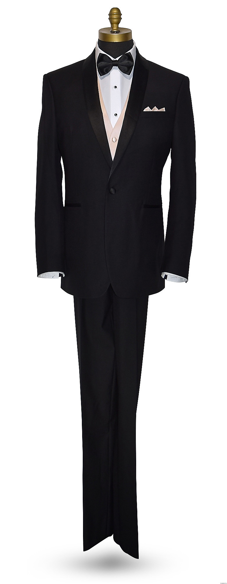 men's nude color vest with black bowtie and black tuxedo