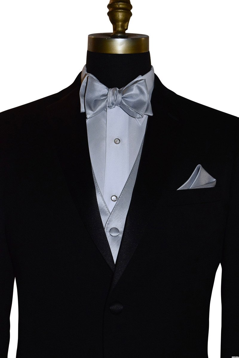 silver self-tie bowtie with silver vest by San Miguel Formals