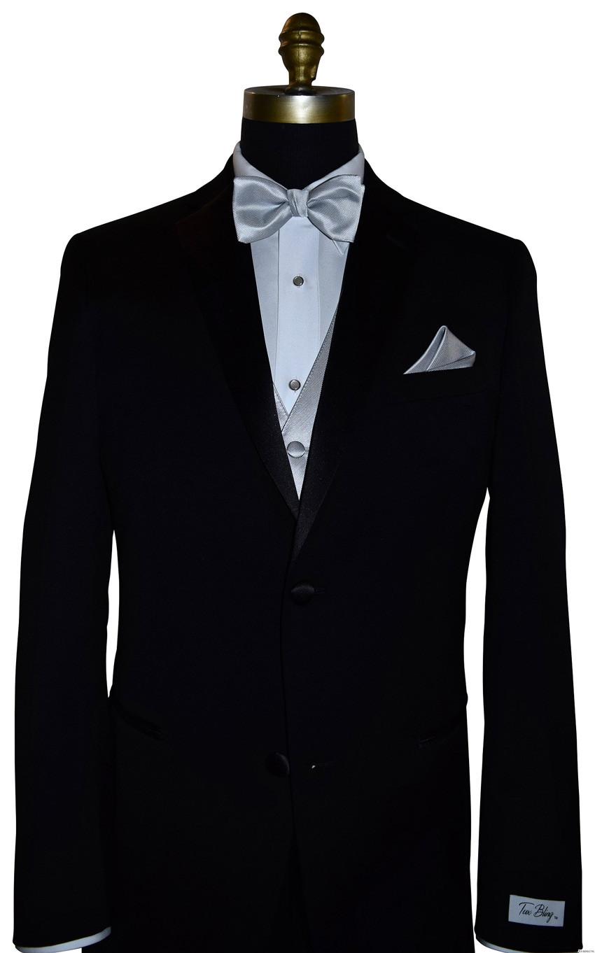 silver tuxedo vest with silver pre-tied bowtie by San Miguel Formals