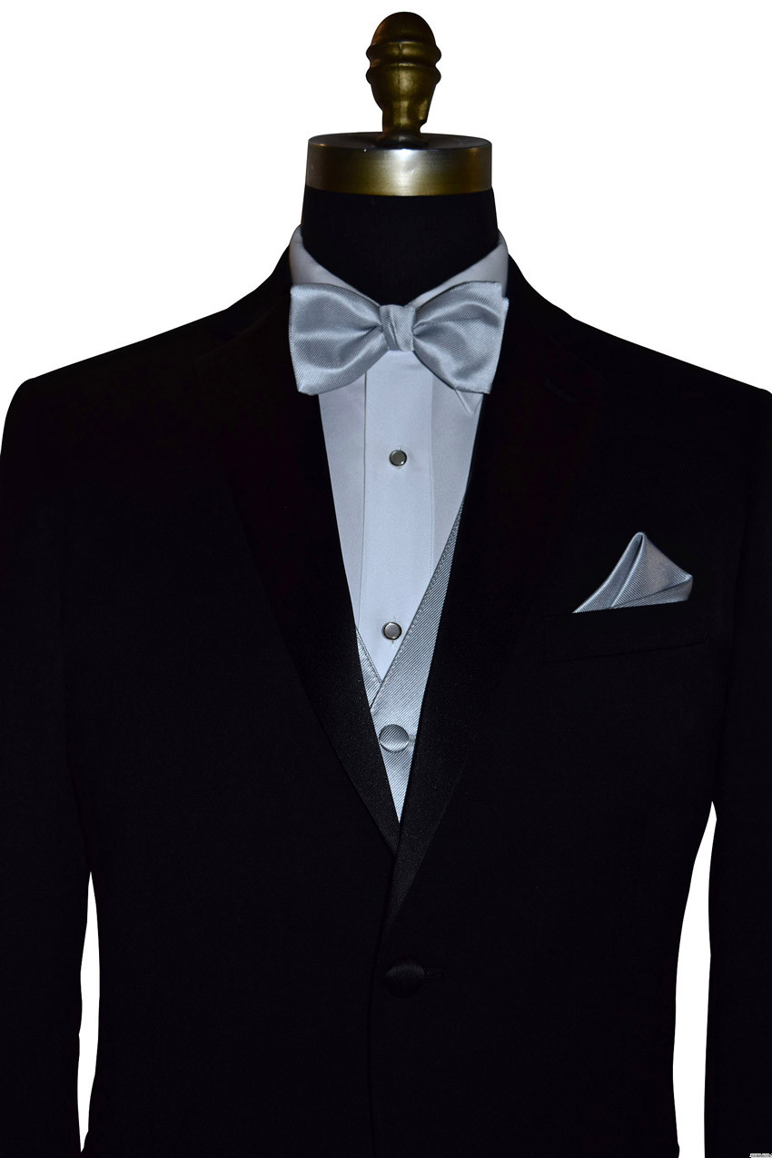 silver bowtie and vest on tuxbling.com