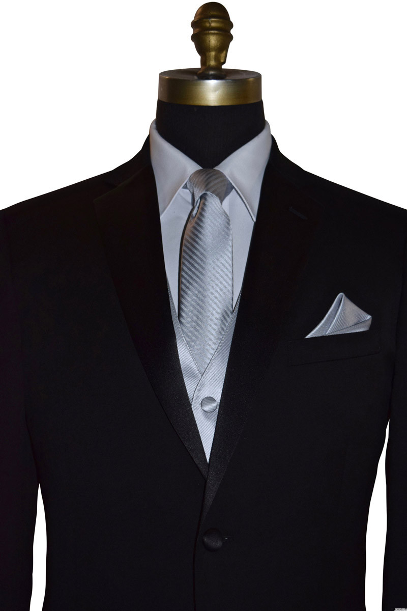 men's silver long tie with stripes with black tuxedo on tuxbling.com