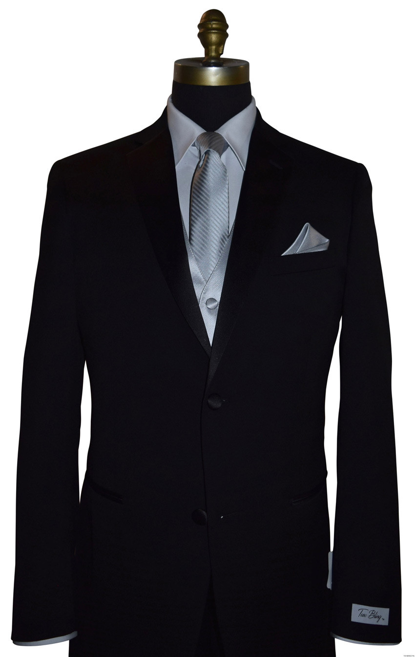 silver long dress tie with matching silver vest and pocket handkerchief by San Miguel Formals