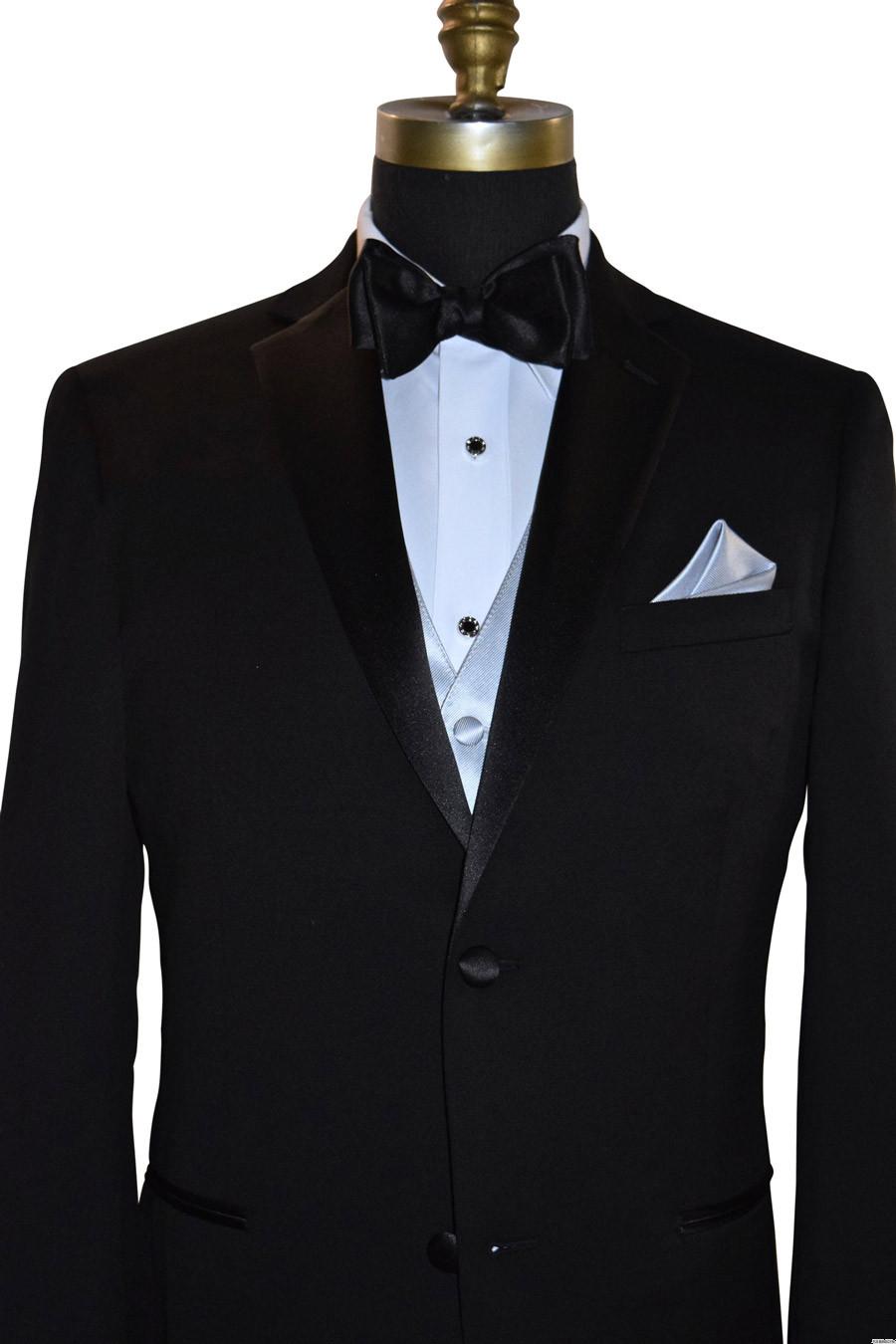 silver tuxedo vest with black bowtie on tuxbling.com