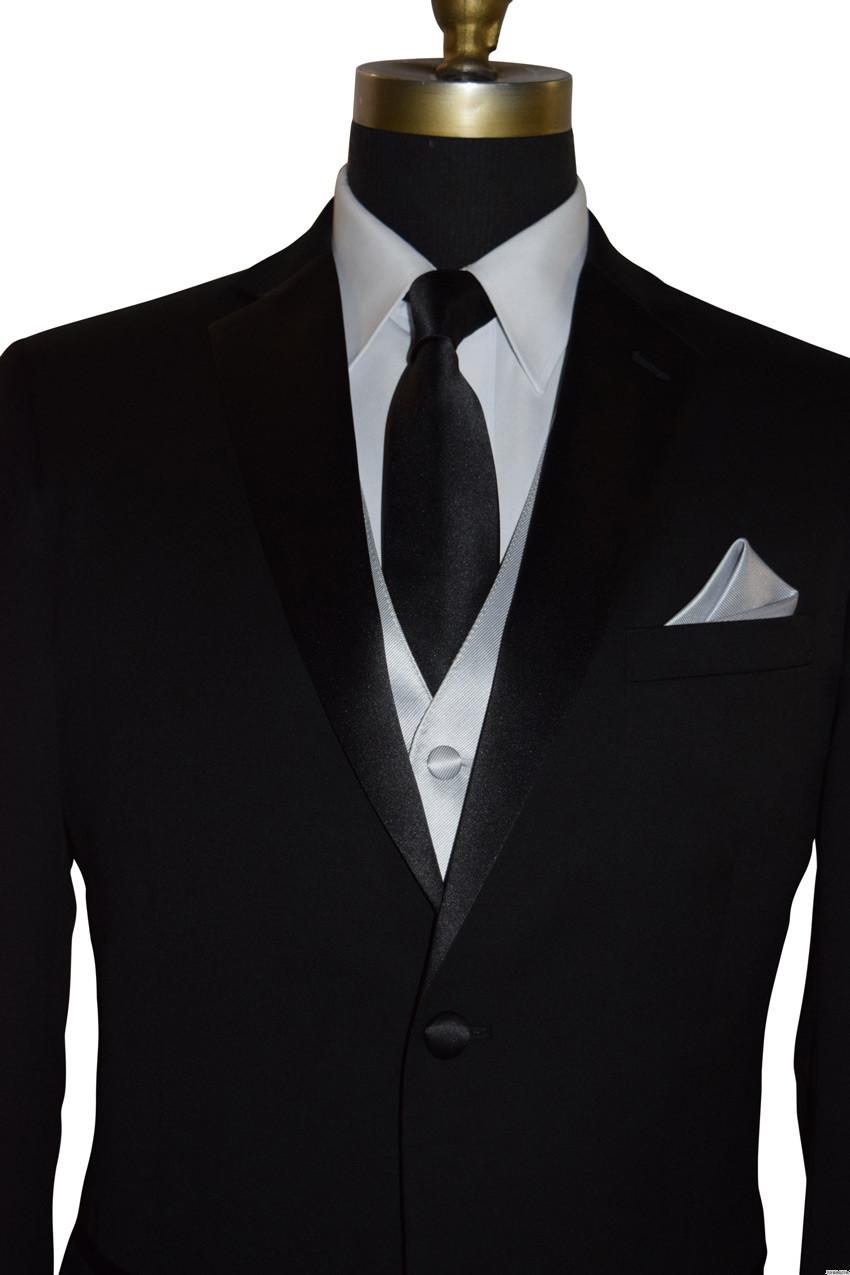silver tuxedo vest with long black dress tie for men
