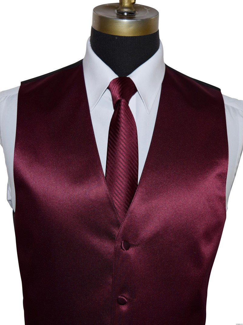 mens and boys wine vest with wine striped long dress tie on tuxbling.com
