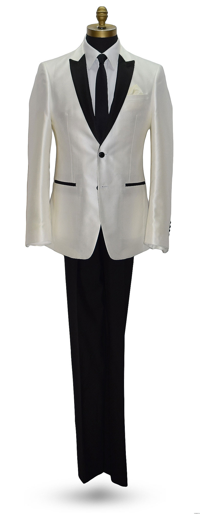 ivory tuxedo with long black skinny tie