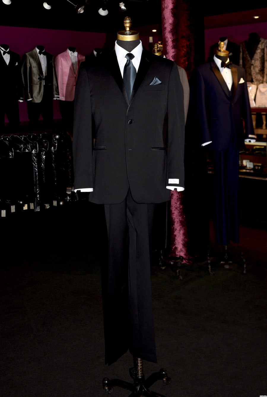 men's charcoal long tie and black tuxedo at Tuxbling.com