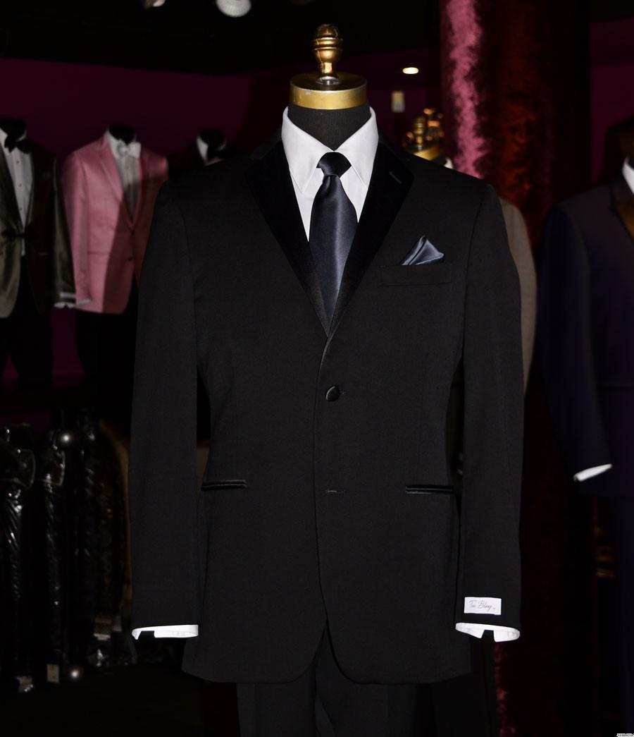 men's charcoal long tie with black tuxedo