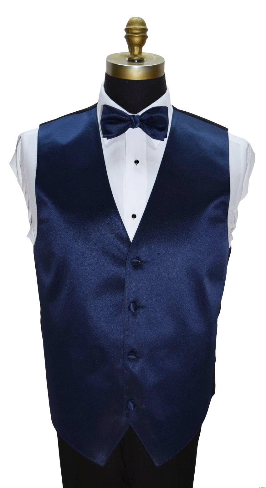 navy blue vest with navy blue pre-tied bowtie by San Miguel Formals