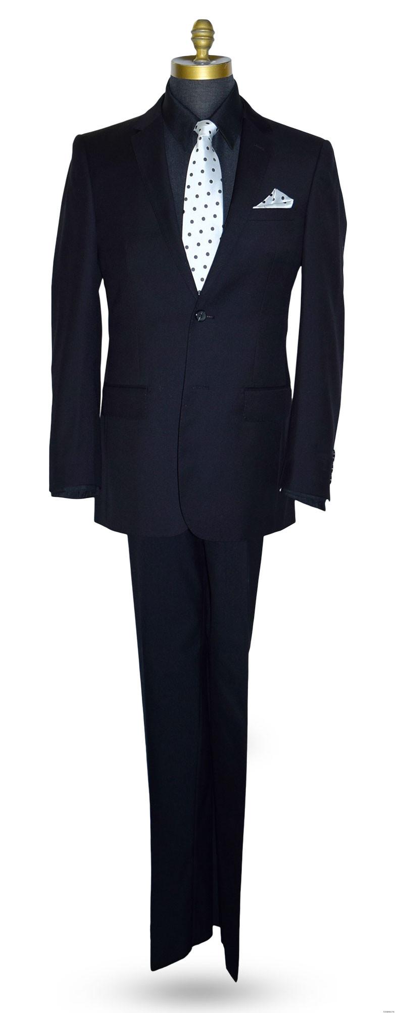 men's polka dot dress tie with black suit at TuxBling.com