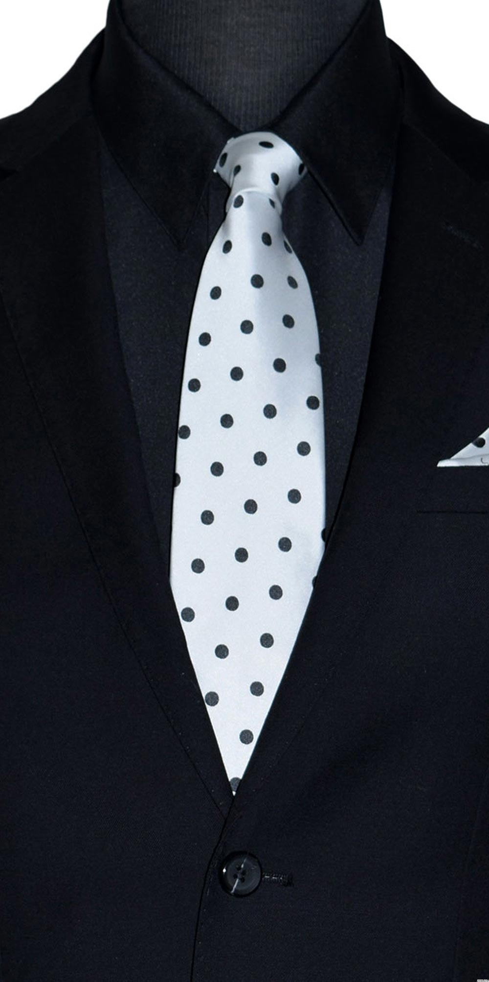 men's white dress tie with black polka dots