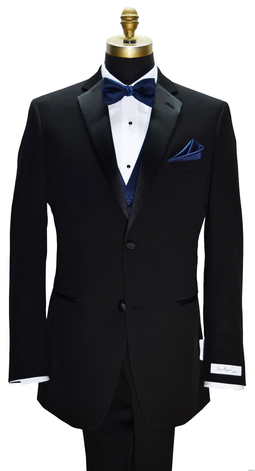 2 button black notch lapel tuxedo with navy blue vest and bowtie on tuxbling.com