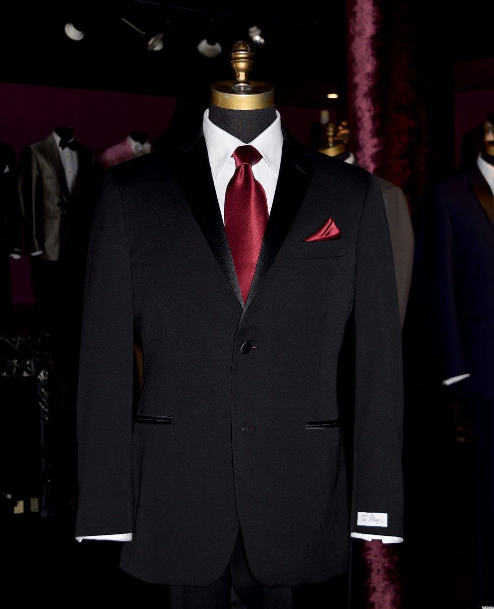 men's wine long silk dress tie and matching pocket hanky from tuxbling.com