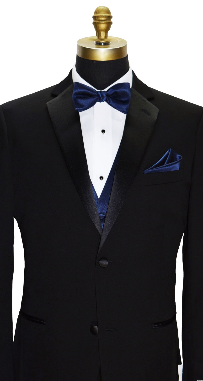 navy blue pre-tied bowtie with navy blue vest and navy blue pocket handkerchief by San Miguel Formals