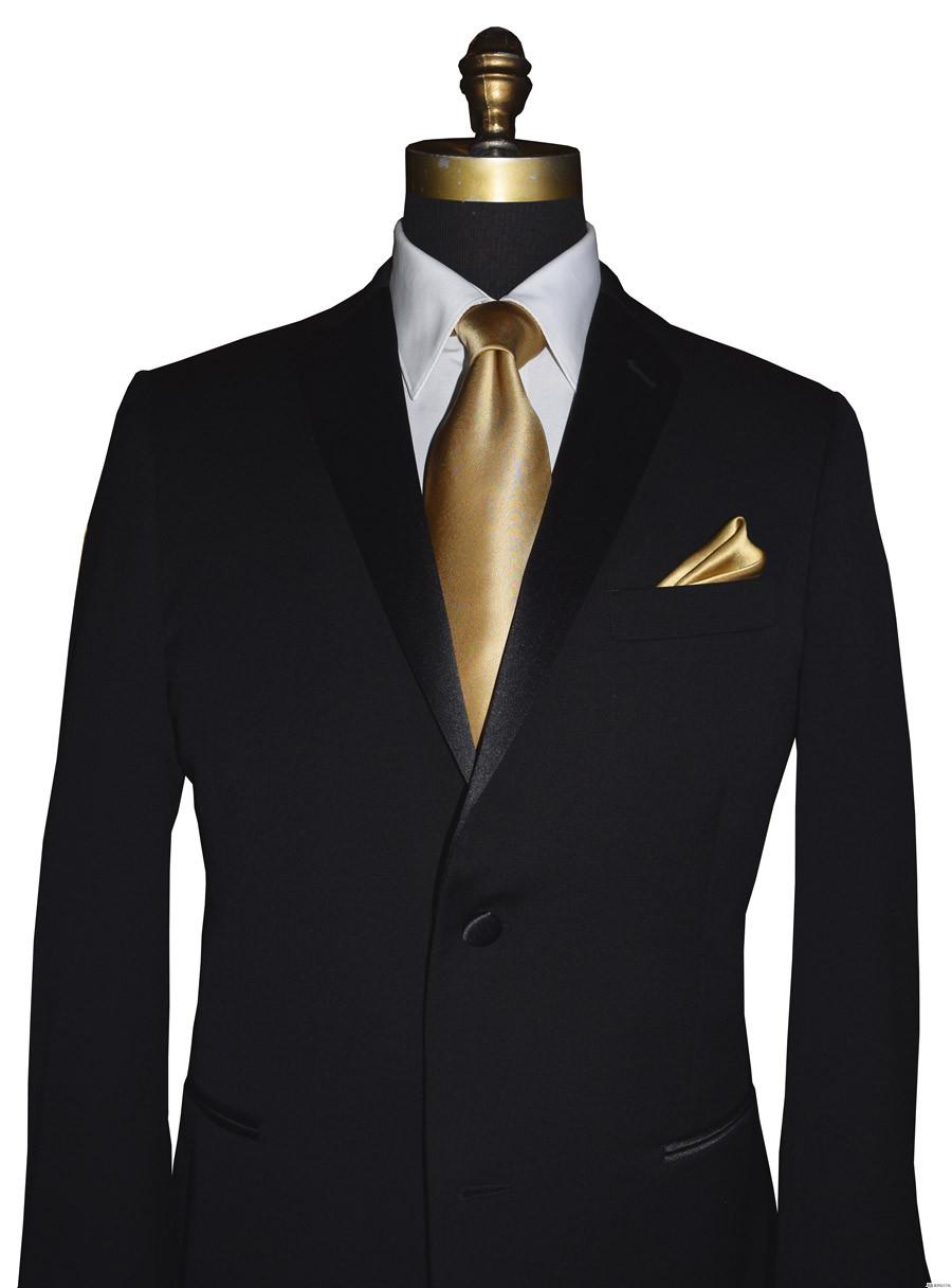 men's gold silk long tie