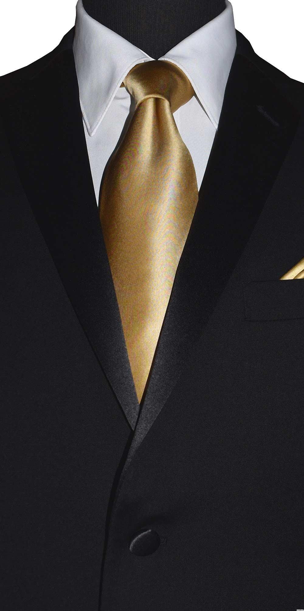 men's gold long tie with black tuxedo