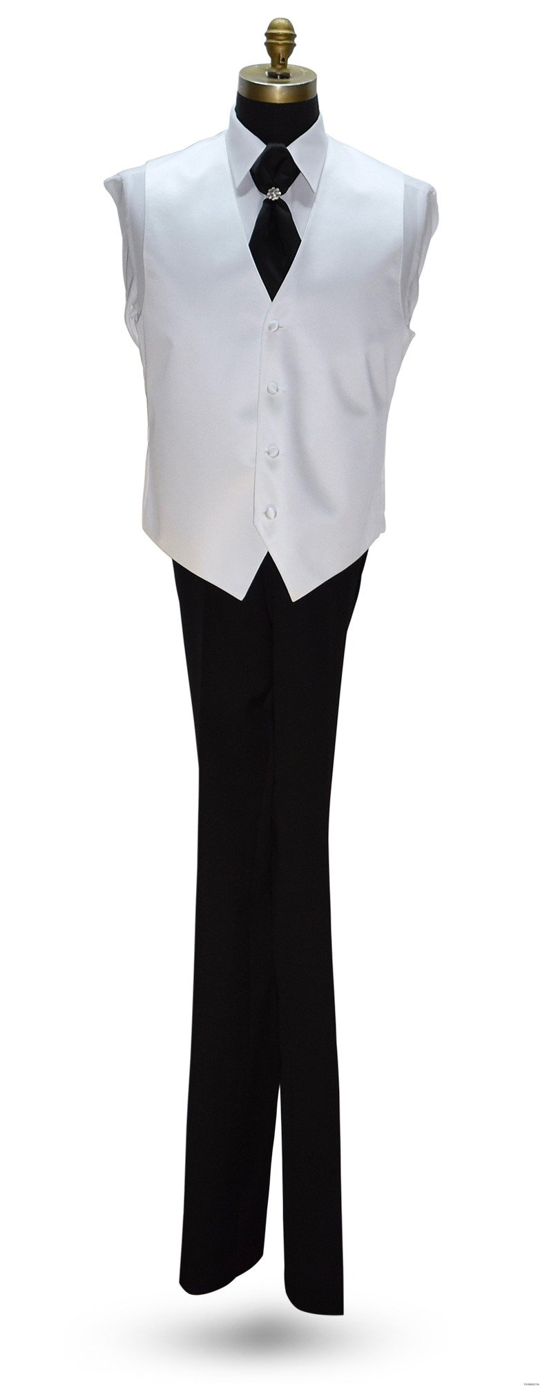 white tuxedo vest with black cravat on tuxbling.com