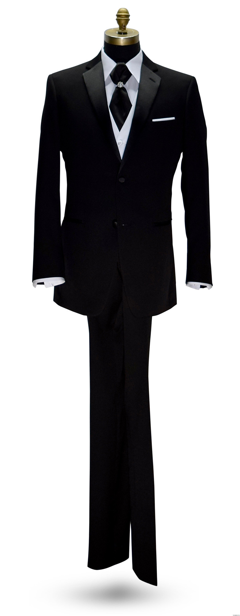 black tuxedo with black cravat and white vest on tuxbling.com