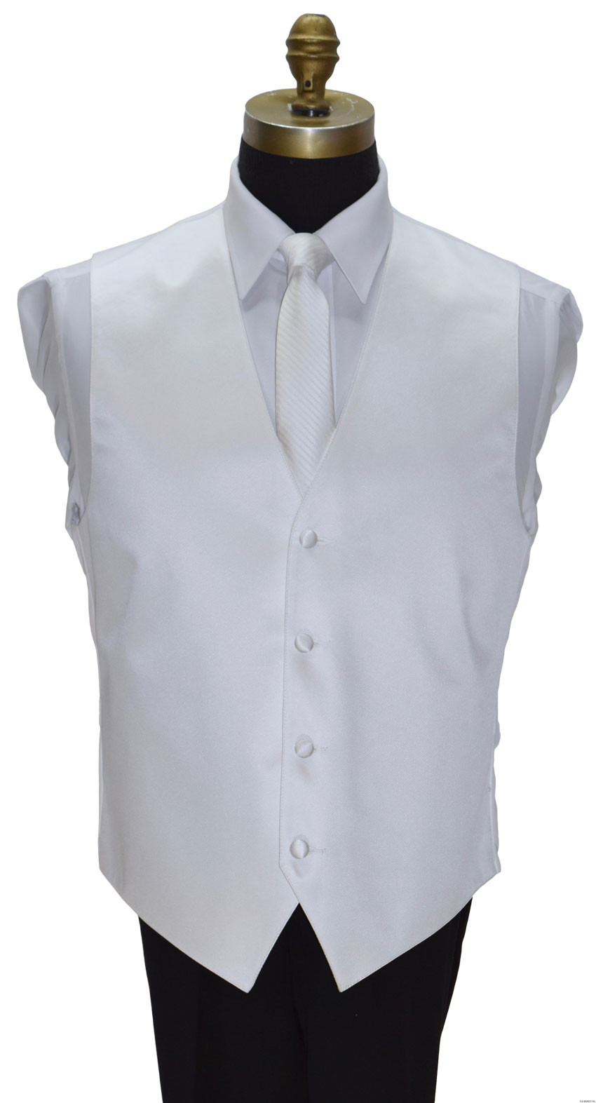 men's and boy's white vest with long white skinny dress tie