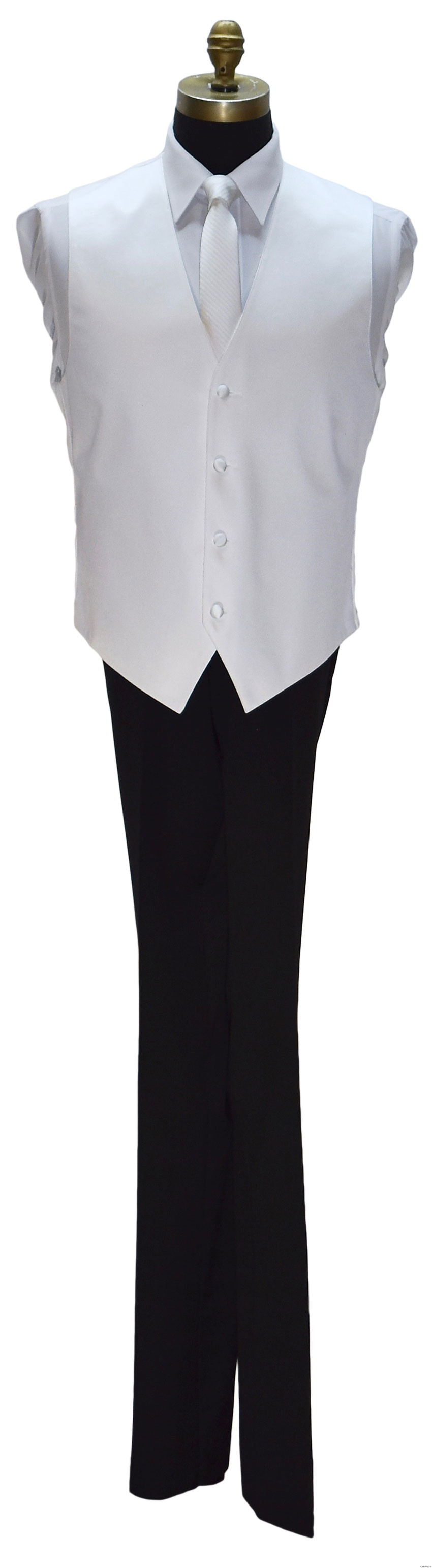 skinny white long tie with white vest by San Miguel Formals